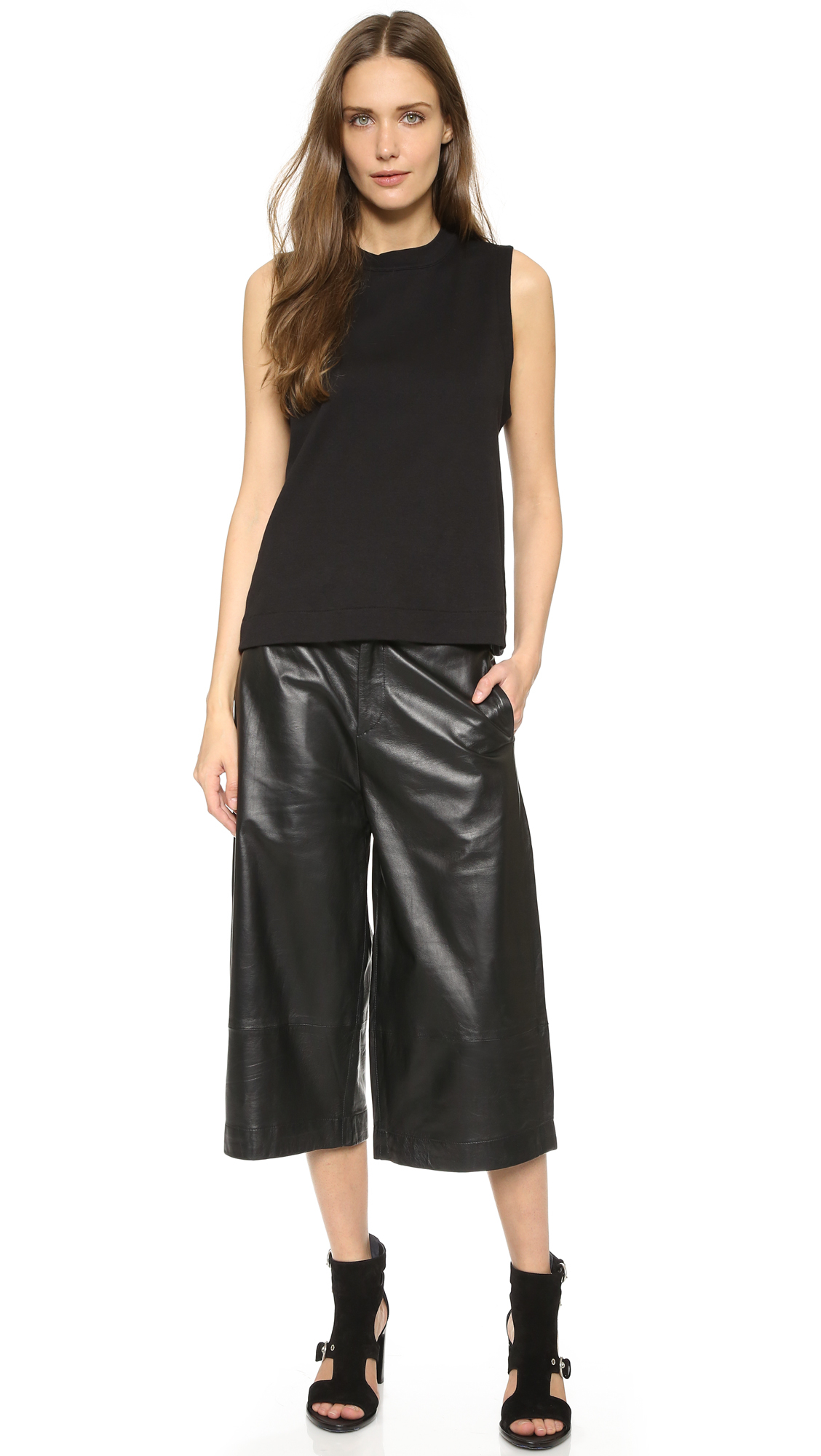 Lyst Rag Amp Bone Leather Gaucho Pants Black Leather In