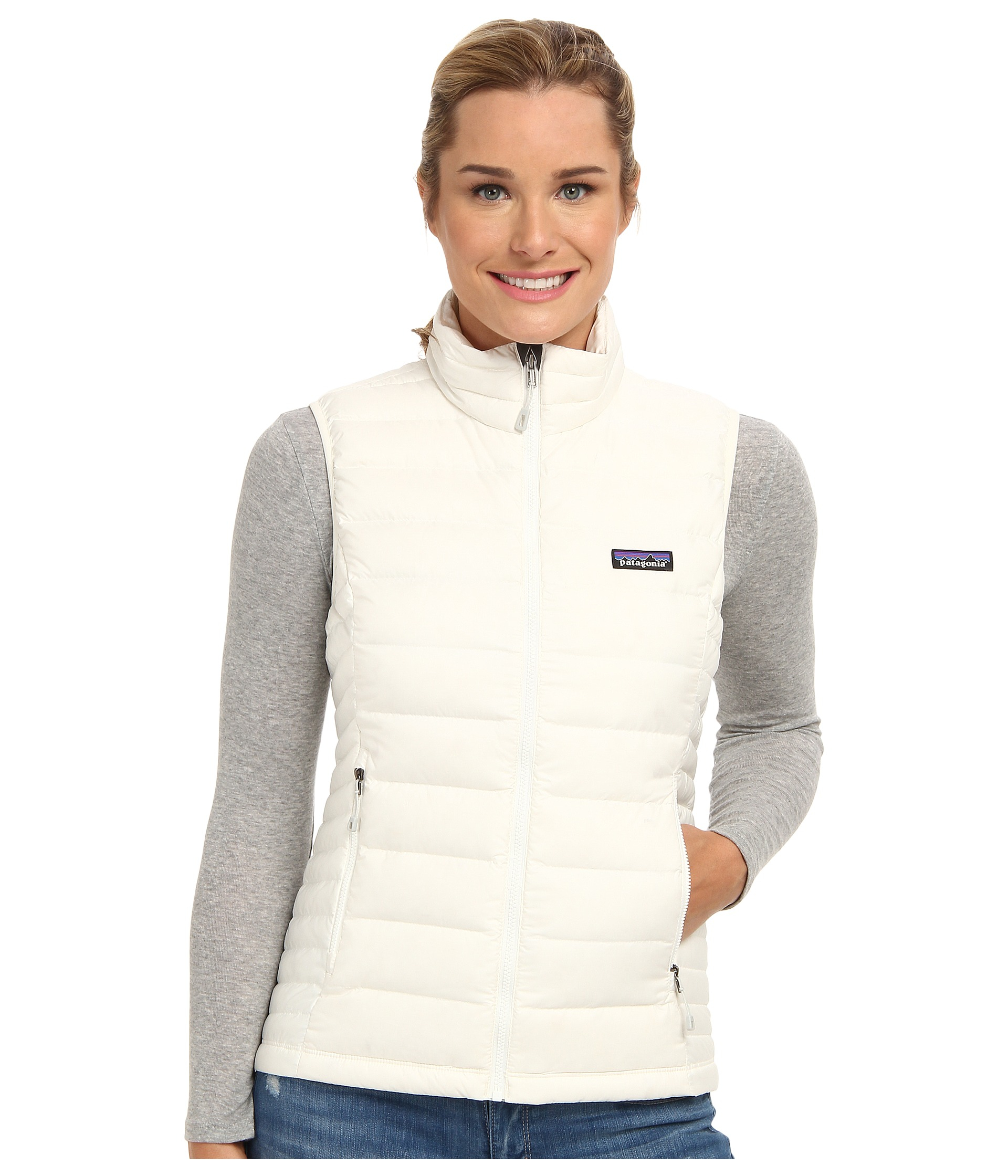 Patagonia Down Sweater Vest in White | Lyst