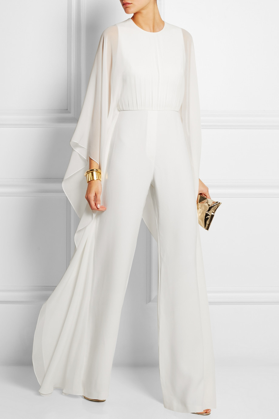 elie saab silk chiffon and stretch crepe jumpsuit in white. Black Bedroom Furniture Sets. Home Design Ideas