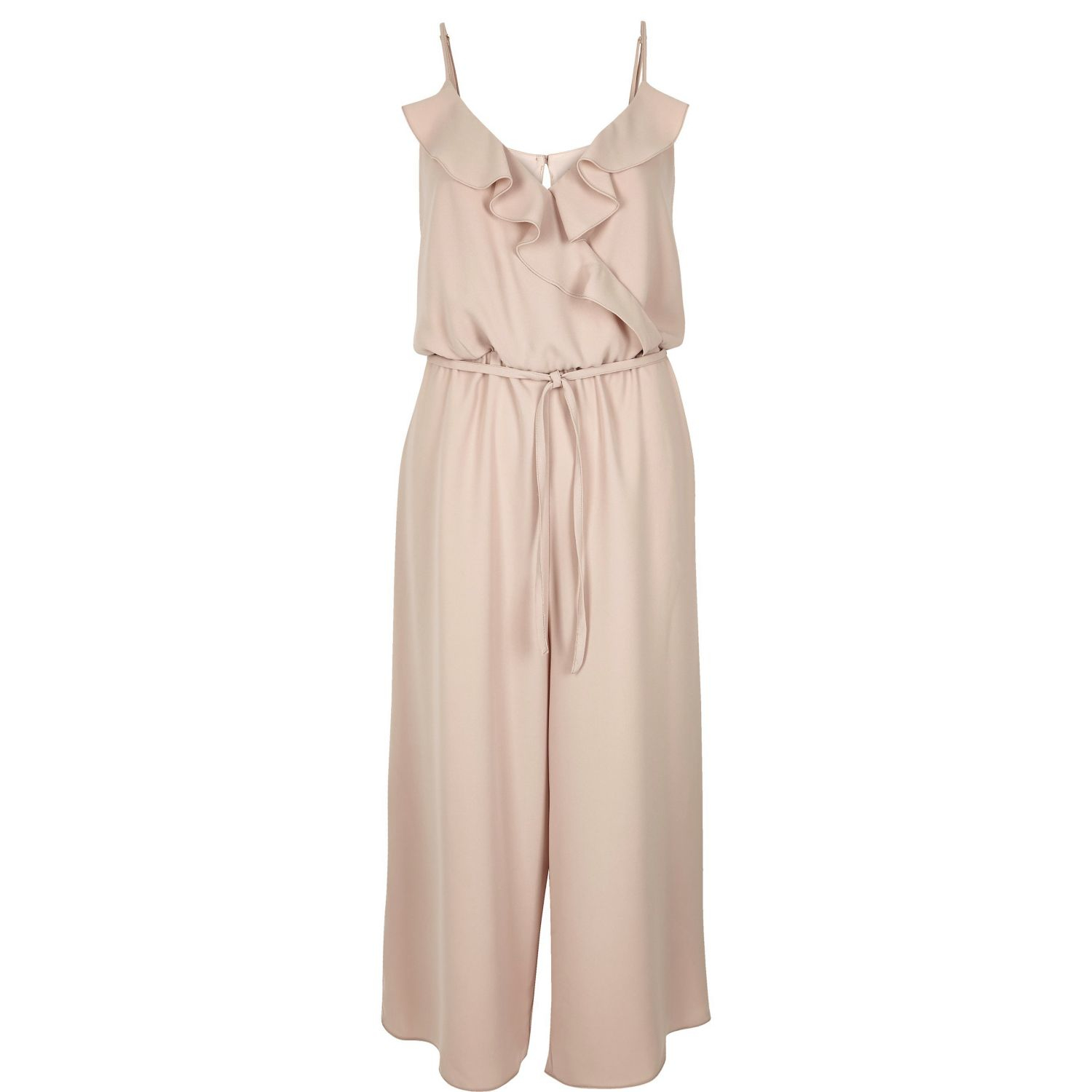 1b4bc699c1 River Island Light Pink Frilly Wrap Front Culotte Jumpsuit in Pink ...