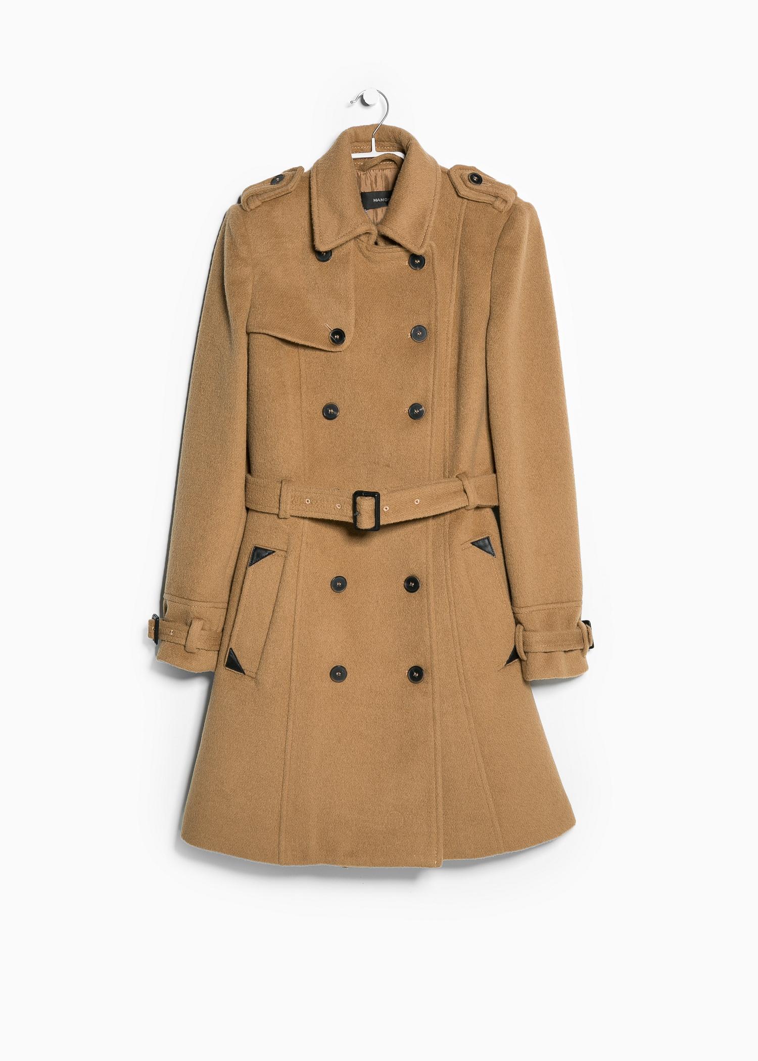 Lyst Mango Woolblend Classic Coat In Natural