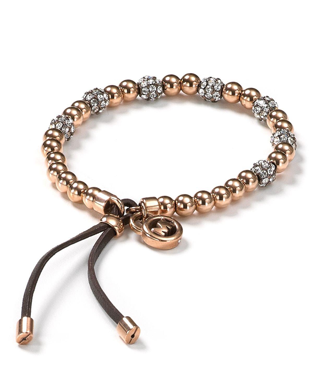 Lyst Michael Kors Pave Beaded Bracelet In Metallic