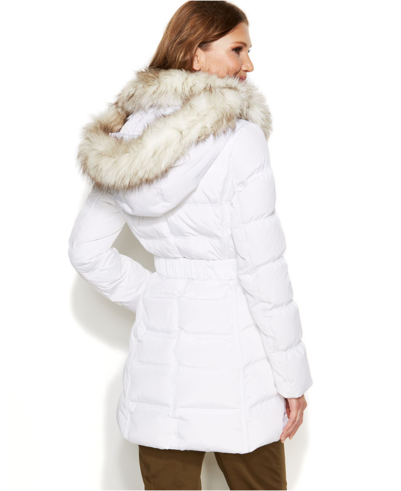 Laundry By Shelli Segal Faux Fur Hooded Down Puffer Coat In Real White White Lyst