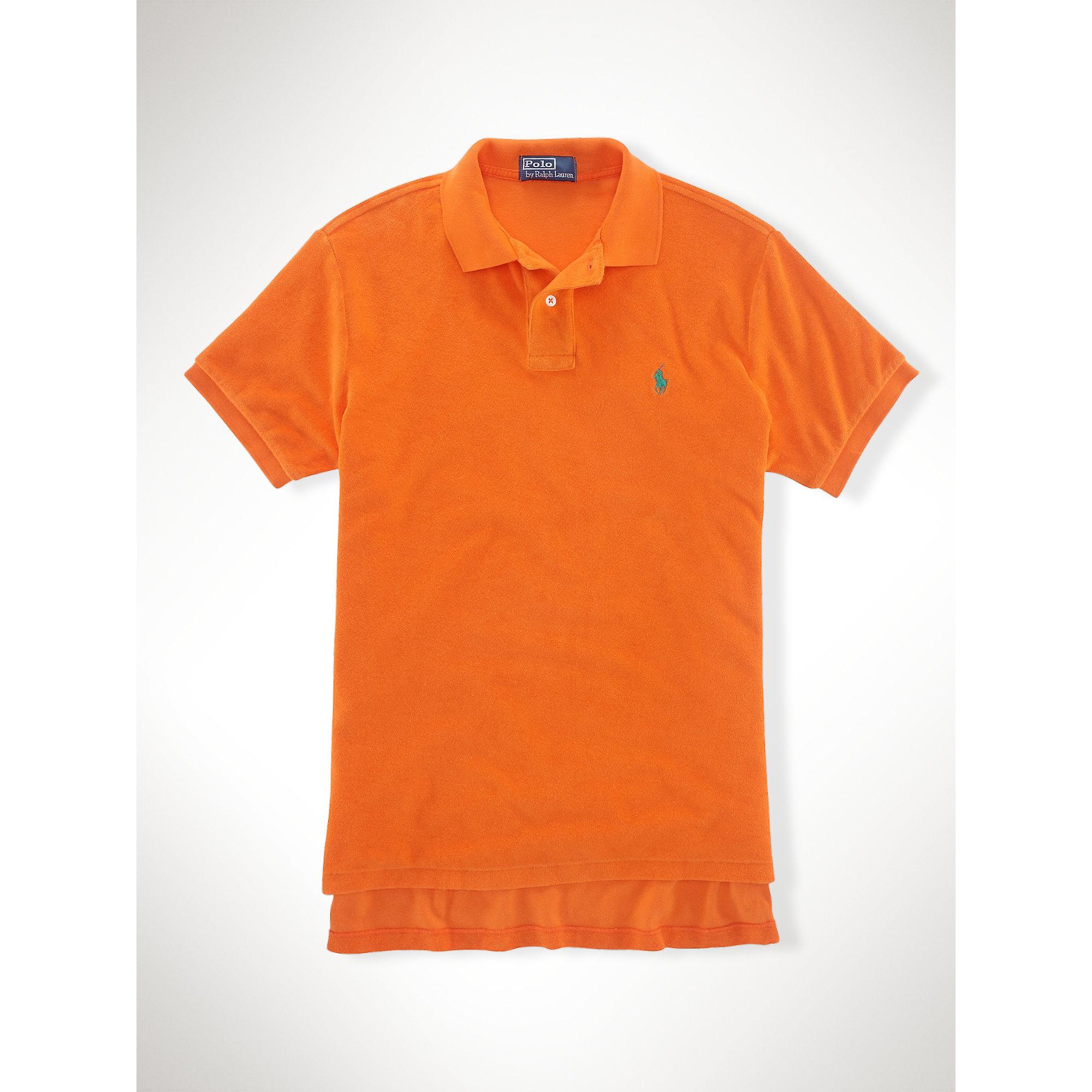 Lyst - Polo Ralph Lauren Custom-fit Terry Cloth Polo in Orange for Men dbe822cbdf21