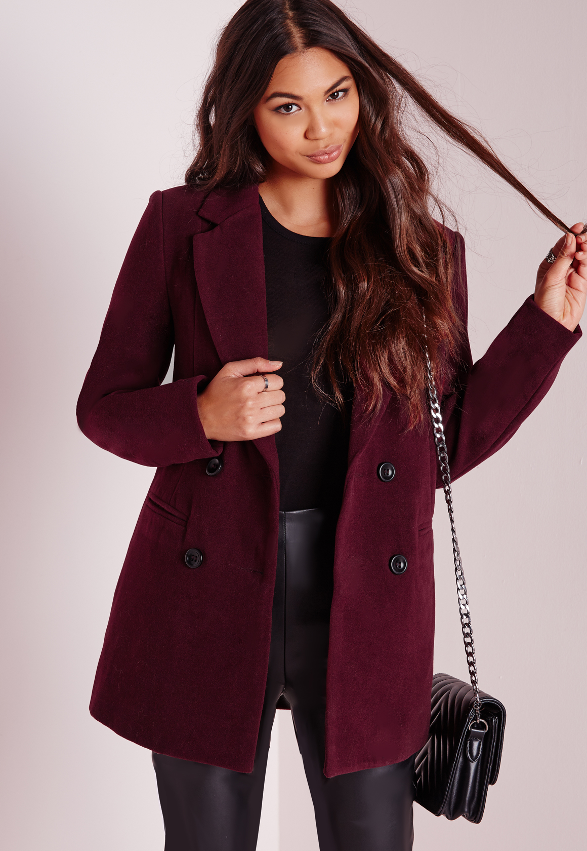 Missguided Double Breasted Tailored Wool Coat Burgundy In