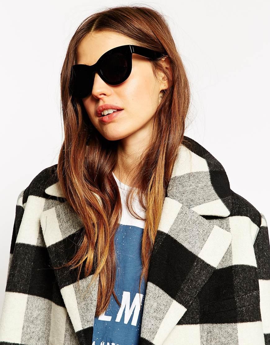 7f13d40942f Lyst - ASOS Chunky Cat Eye Sunglasses in Black