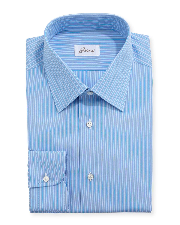 Brioni Grenadine Aqua Stripe Dress Shirt In Blue For Men