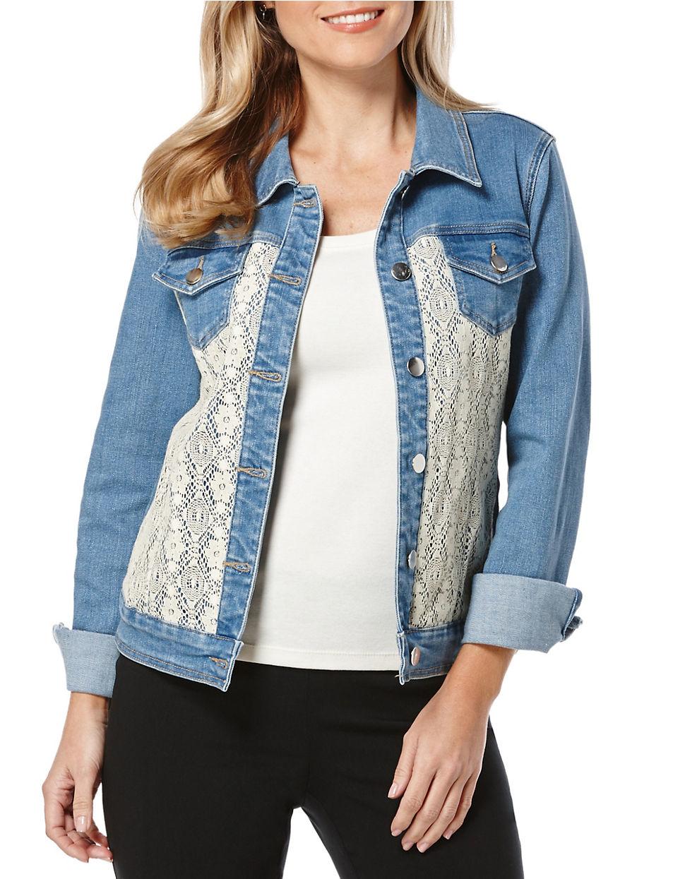 Rafaella Crocheted Lace-Paneled Denim Jacket In Blue - Lyst-4720