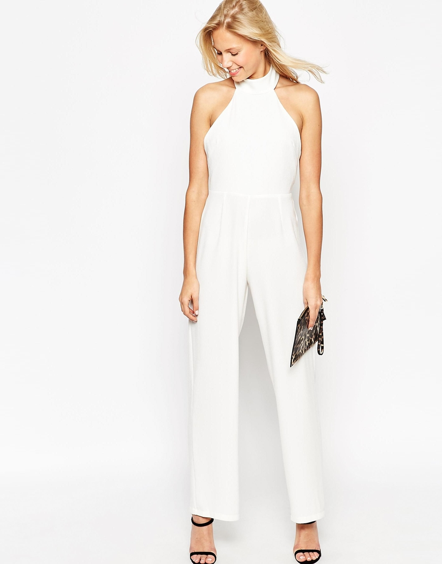 75ab56037ce5 ASOS Backless Jumpsuit With High Neck And Tassle Back in White - Lyst