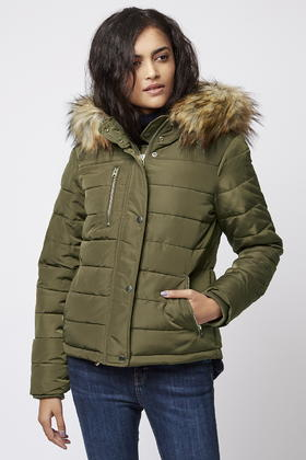 Topshop Quilted Panelled Jacket in Natural | Lyst