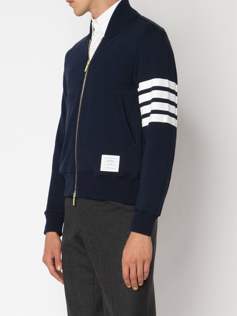 Lyst - Thom browne Jersey Bomber Jacket in Blue for Men