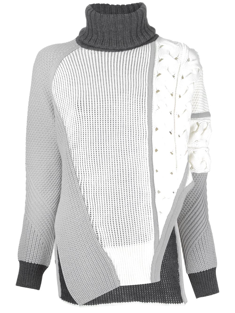 e6f0dac817 Lyst - Prabal Gurung Cable Knit Turtle Neck Sweater in White
