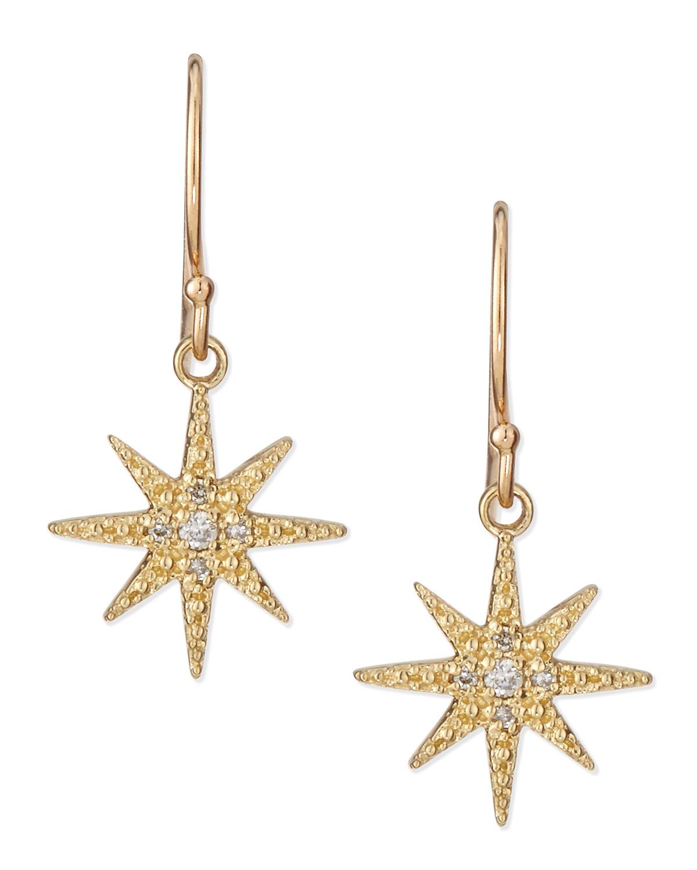 Mizuki Pave Diamond Star Drop Earrings In Metallic Lyst
