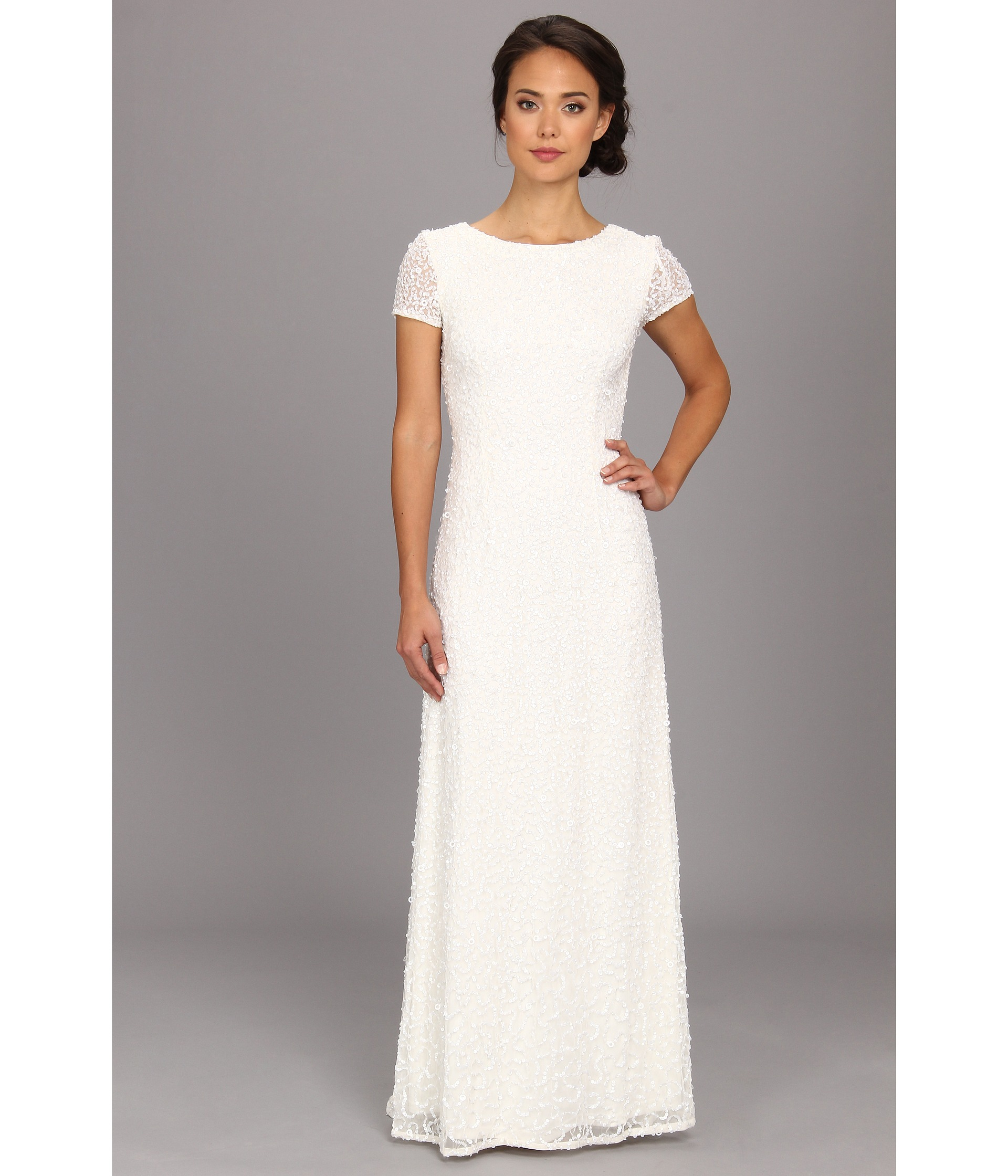 Lyst - Adrianna Papell Cap Sleeve Scoop Back Beaded Down Dress in White