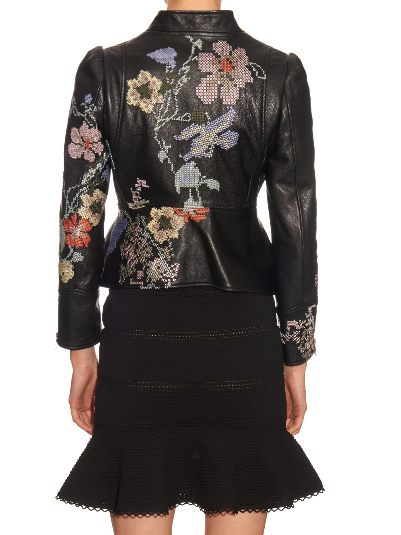 Lyst alexander mcqueen cross stitch embroidered leather