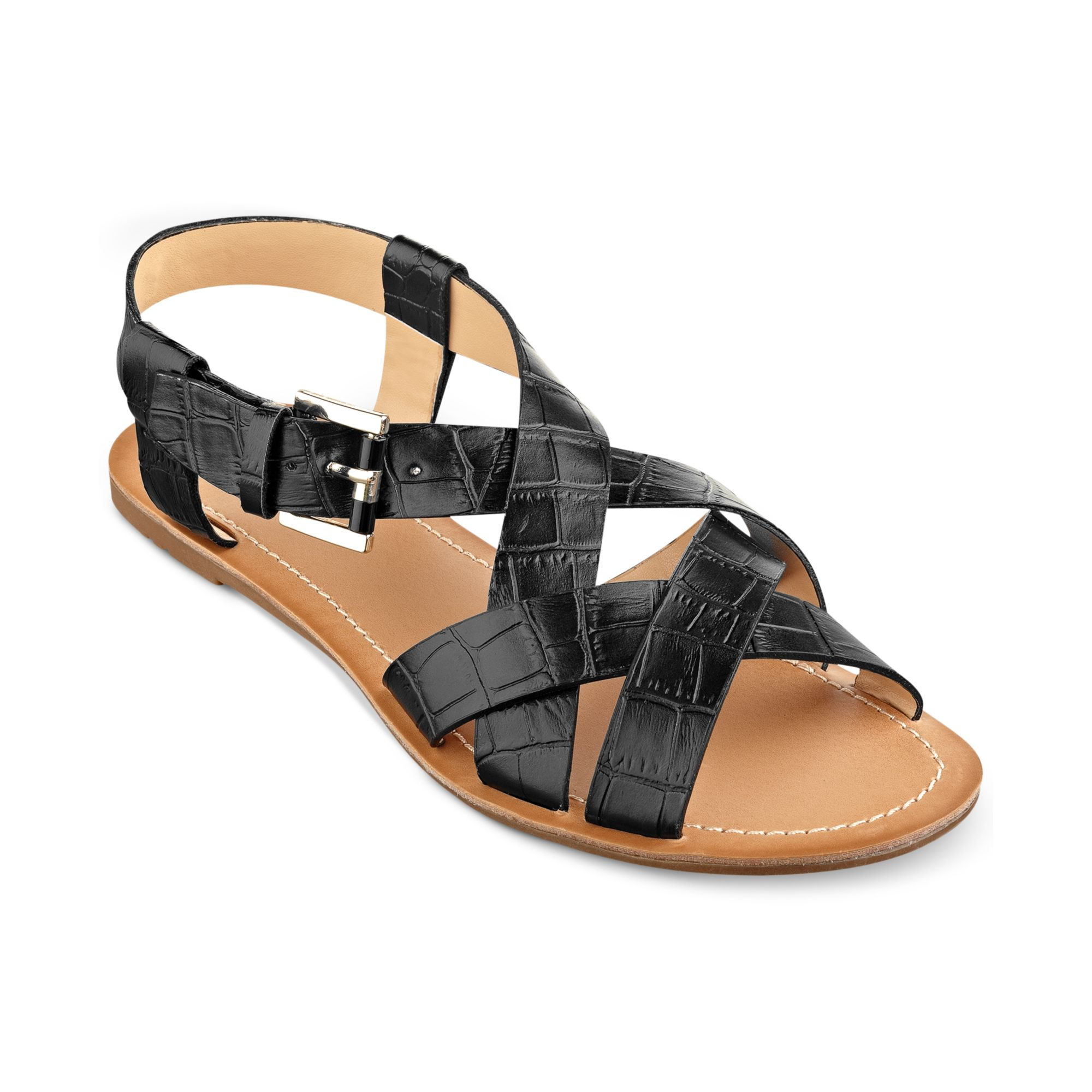 b536af50b Tommy Hilfiger Womens Lorinda Flat Sandals In Black (Black Croc)