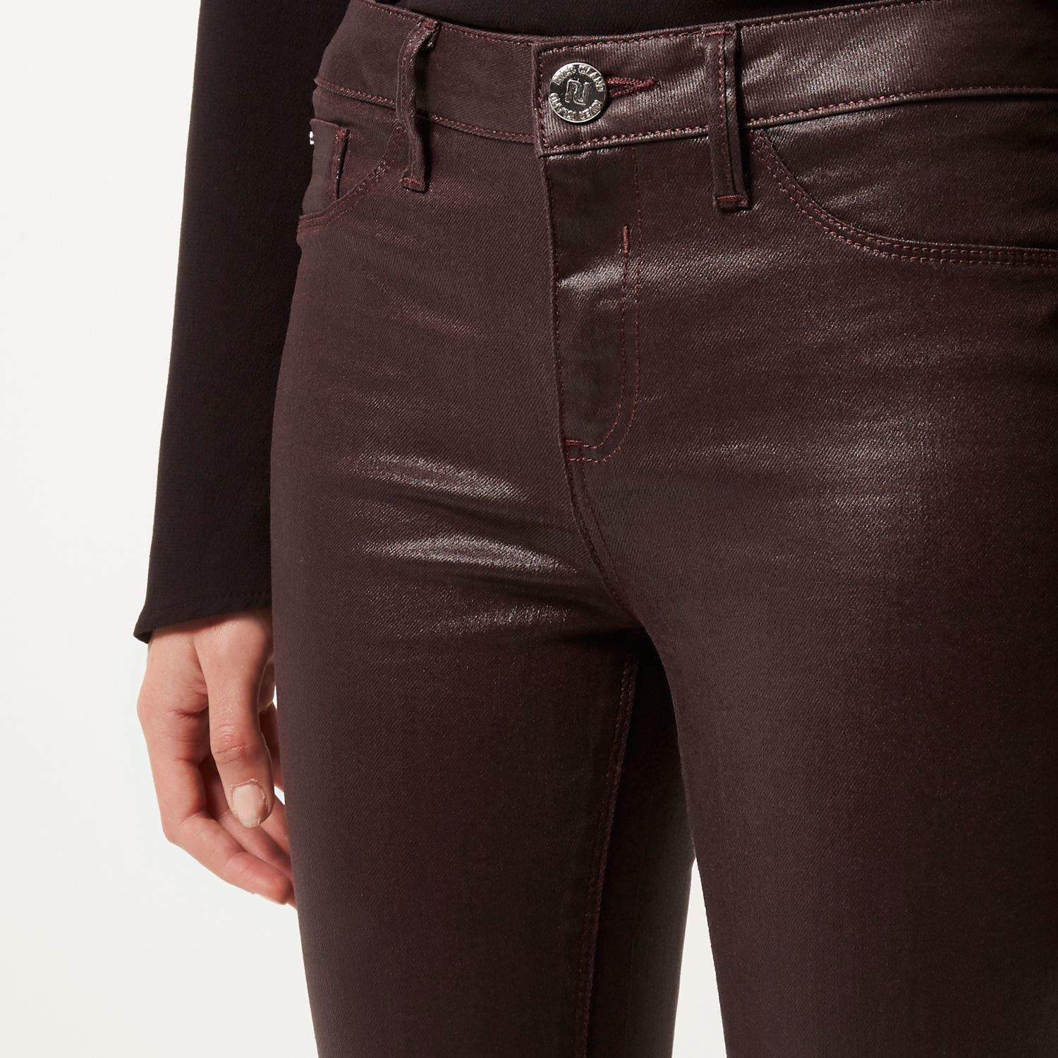 bright in luster the latest real deal River Island Dark Red Coated Molly Jeggings in Purple - Lyst