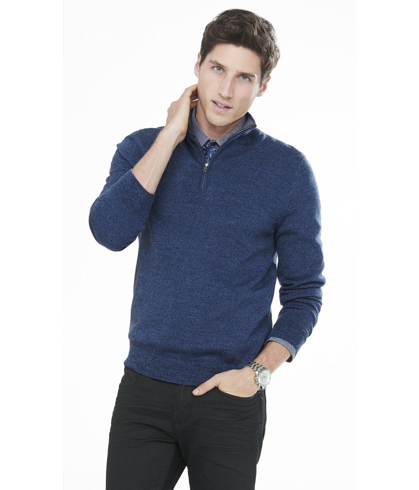 Merino Wool Zip Up Mock Neck Sweater 7
