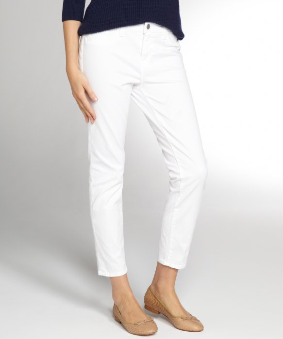 J brand White Stretch Denim On Skinny Capri Jeans in White | Lyst