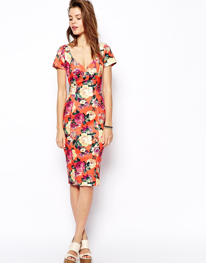 55dc5ad9db2 ASOS Sexy Scuba Pencil Dress In Bright Floral Print - Lyst
