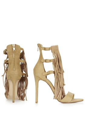 Lyst Lyst Lyst Topshop Ronnie Fringe High Heel Sandalo in Natural 367298