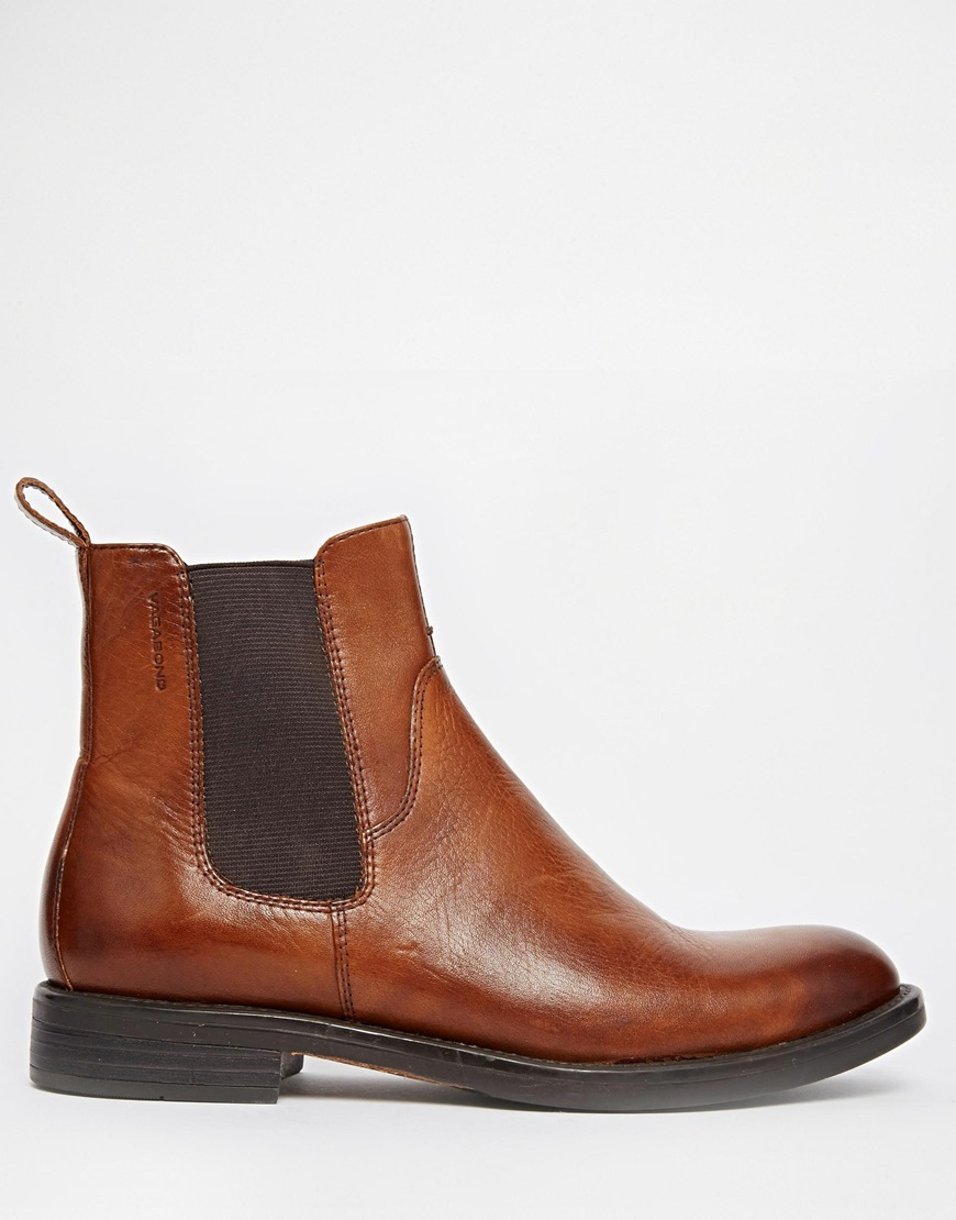 bb909962d63 Vagabond Brown Amina Cognac Leather Chelsea Ankle Boots for men