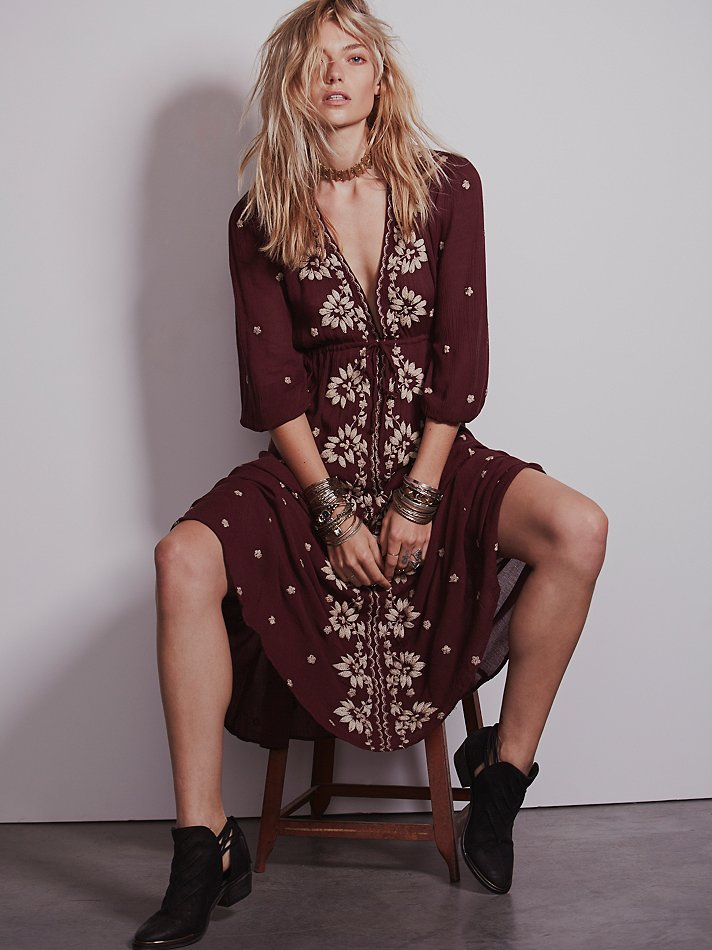 Free People Embroidered Fable Dress In Red Lyst