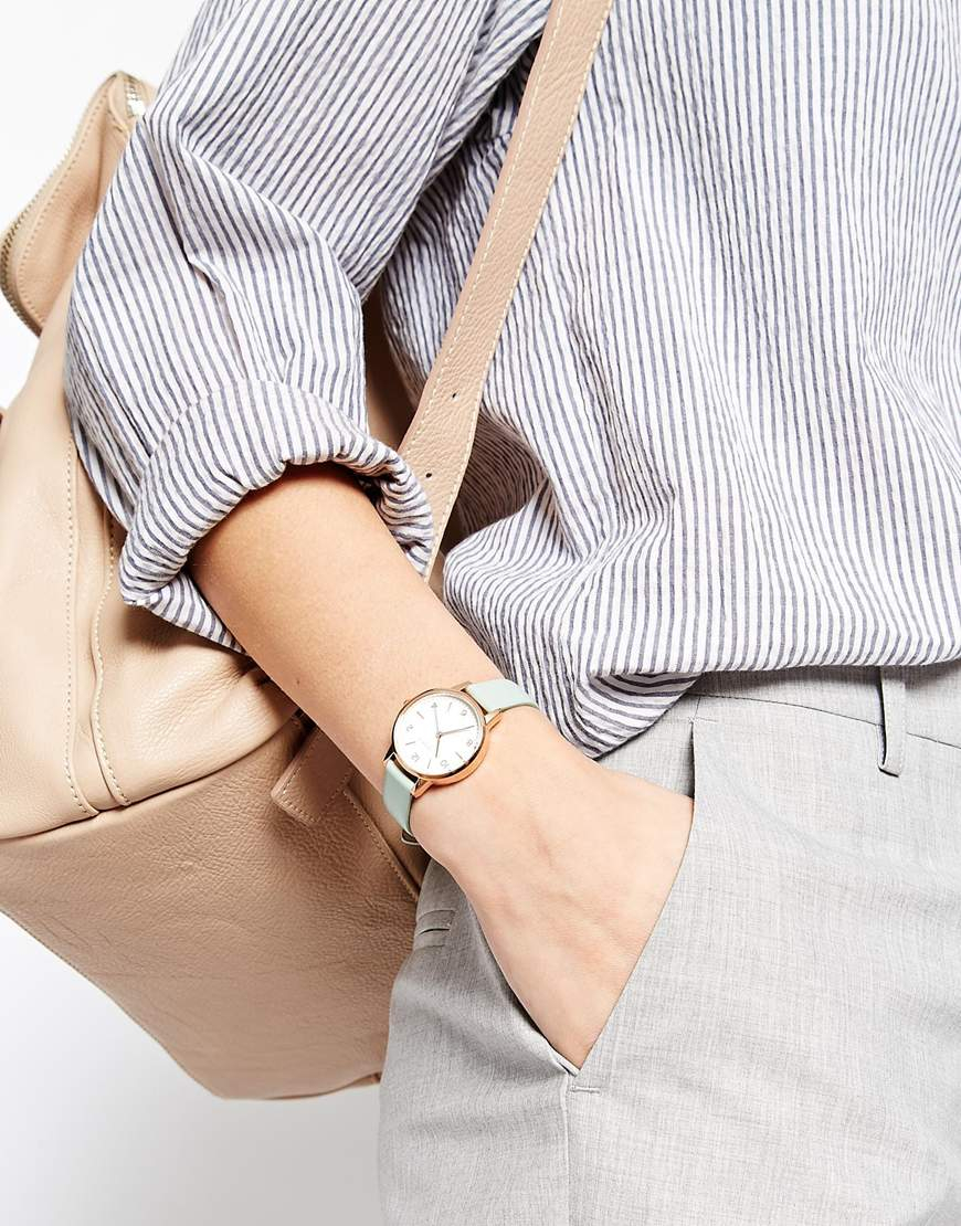 Lyst - Olivia Burton Exclusive To Asos Midi White Face Mint Watch in ... 214db16239