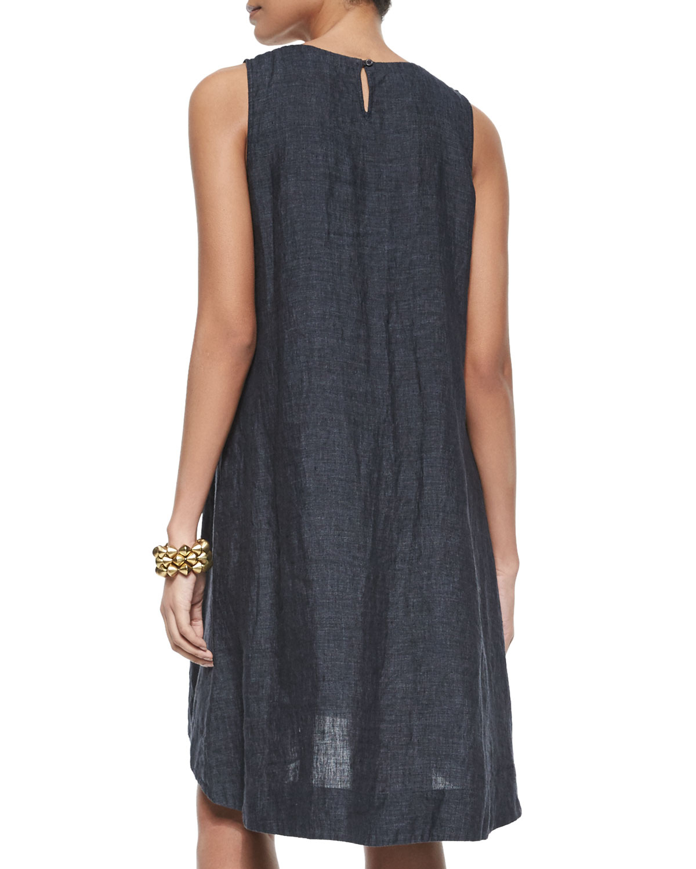 534819d0134d7d Lyst - Eileen Fisher Washed Organic Linen Sleeveless Flare Dress in Blue