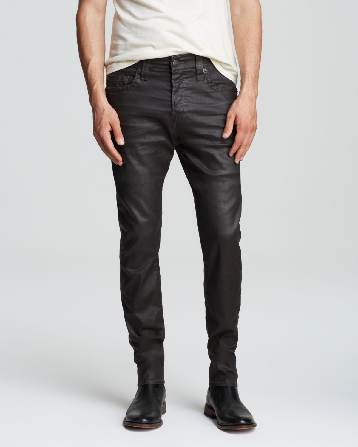 True Religion Jeans - Faux Leather Dean New Tapered Fit In Black for Men