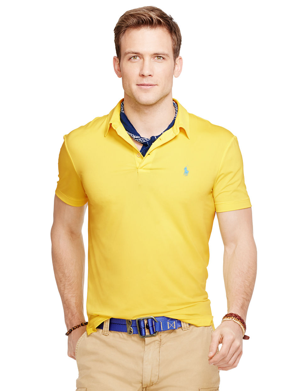 Polo Ralph Lauren Performance Polo Shirt In Yellow For Men