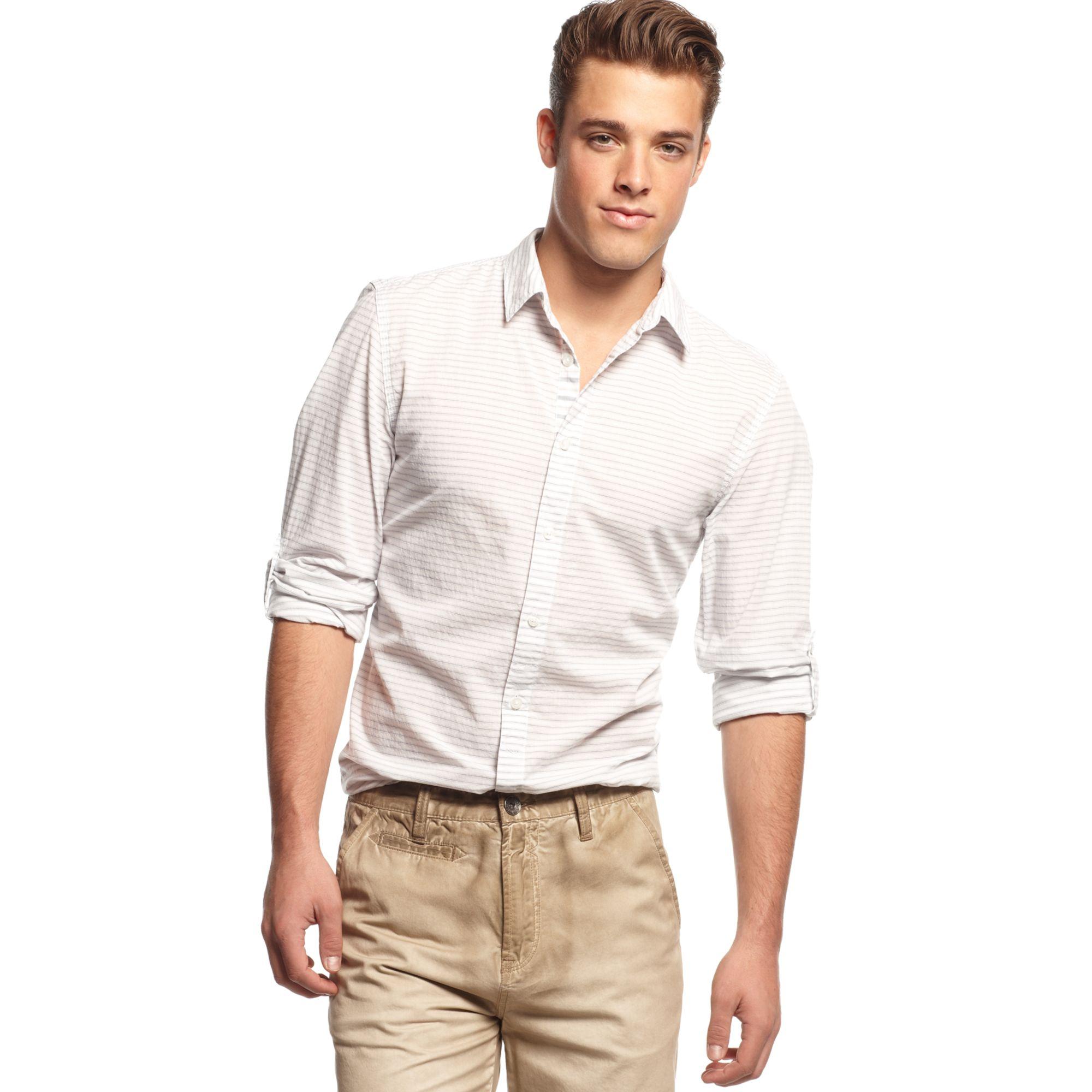 Guess Cove Longsleeve Shirt In White For Men Optic White