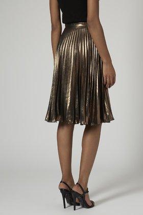 c68e5d501a TOPSHOP Metallic Pleated Midi Skirt in Metallic - Lyst
