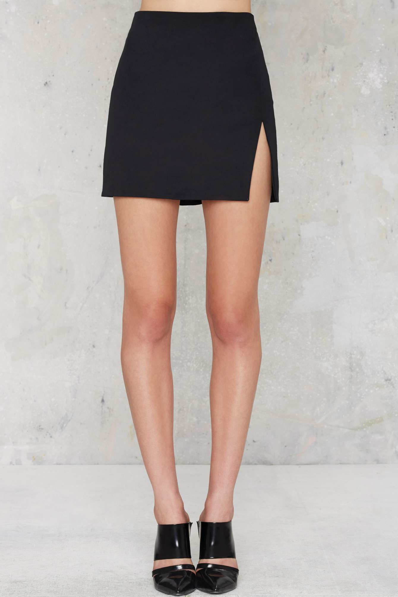 Nasty gal Slit Or Miss Mini Skirt in Black | Lyst