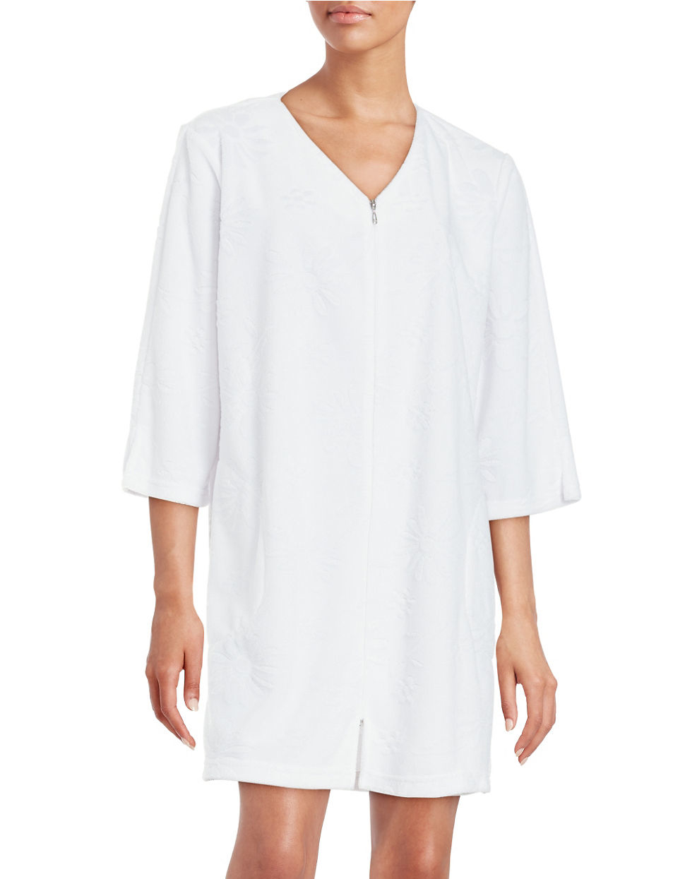 Miss Elaine Zip Front Terry Robe In Pink Lyst
