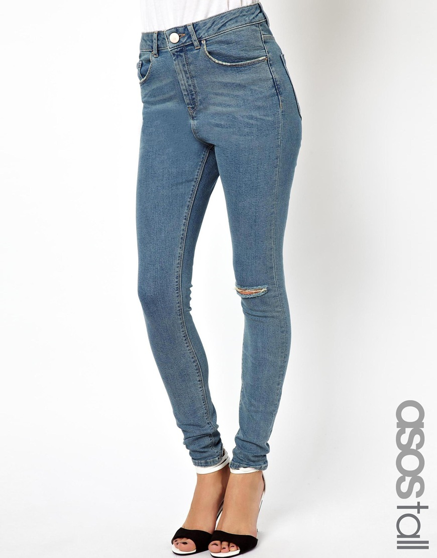 348845cfe94 ASOS Ridley High Waist Ultra Skinny Jeans In Vintage Wash With ...