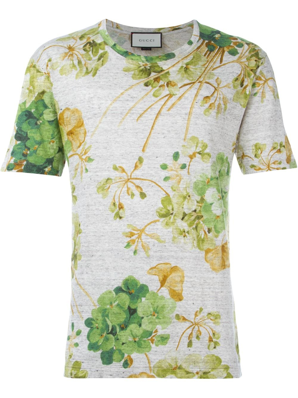 Gucci White Printed T-shirt in Green for Men | Lyst