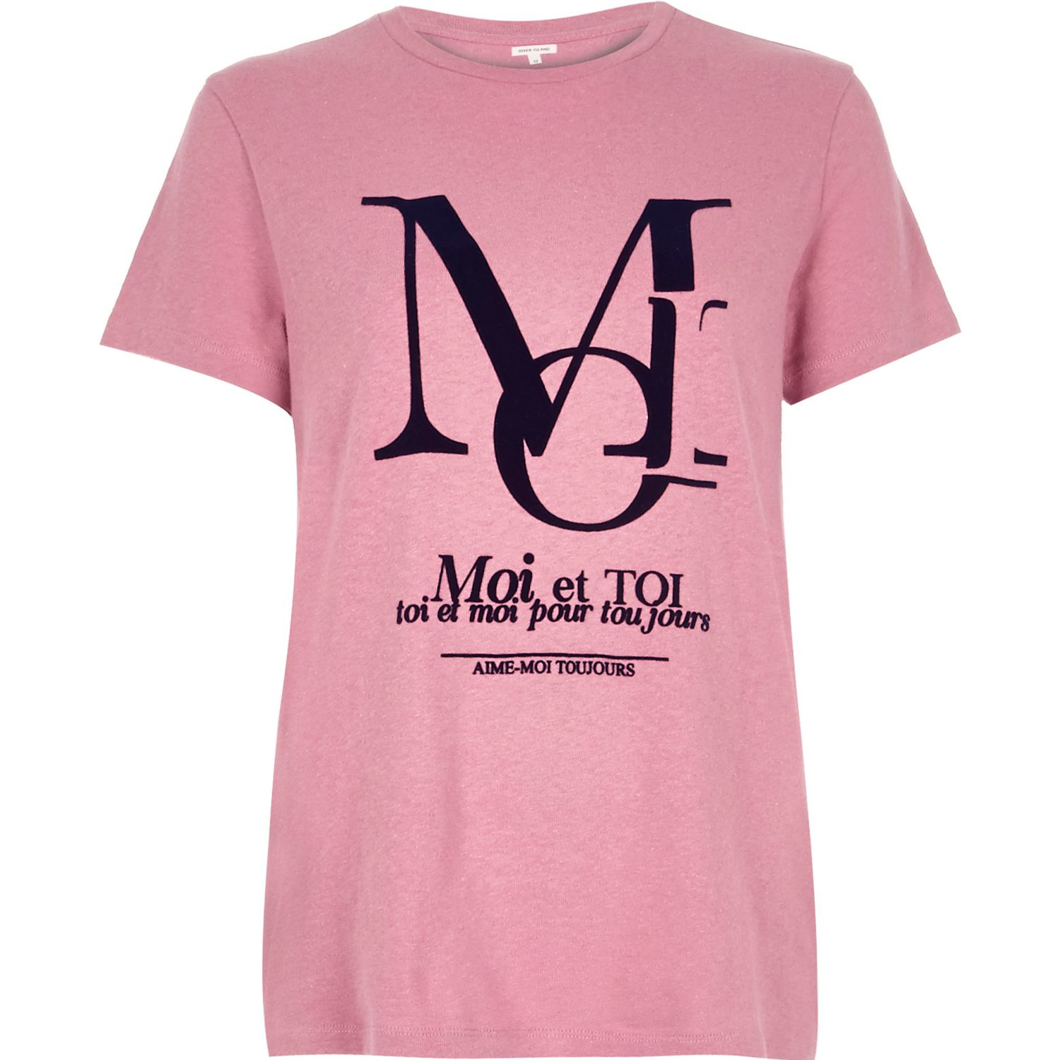 River island pink french slogan print fitted t shirt in for Fitted t shirt printing