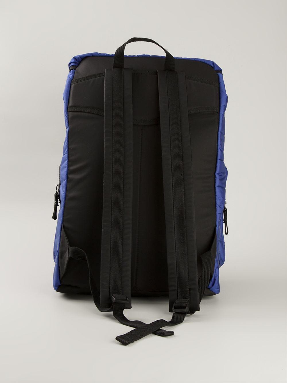 Moncler Quilted Backpack in Blue for Men