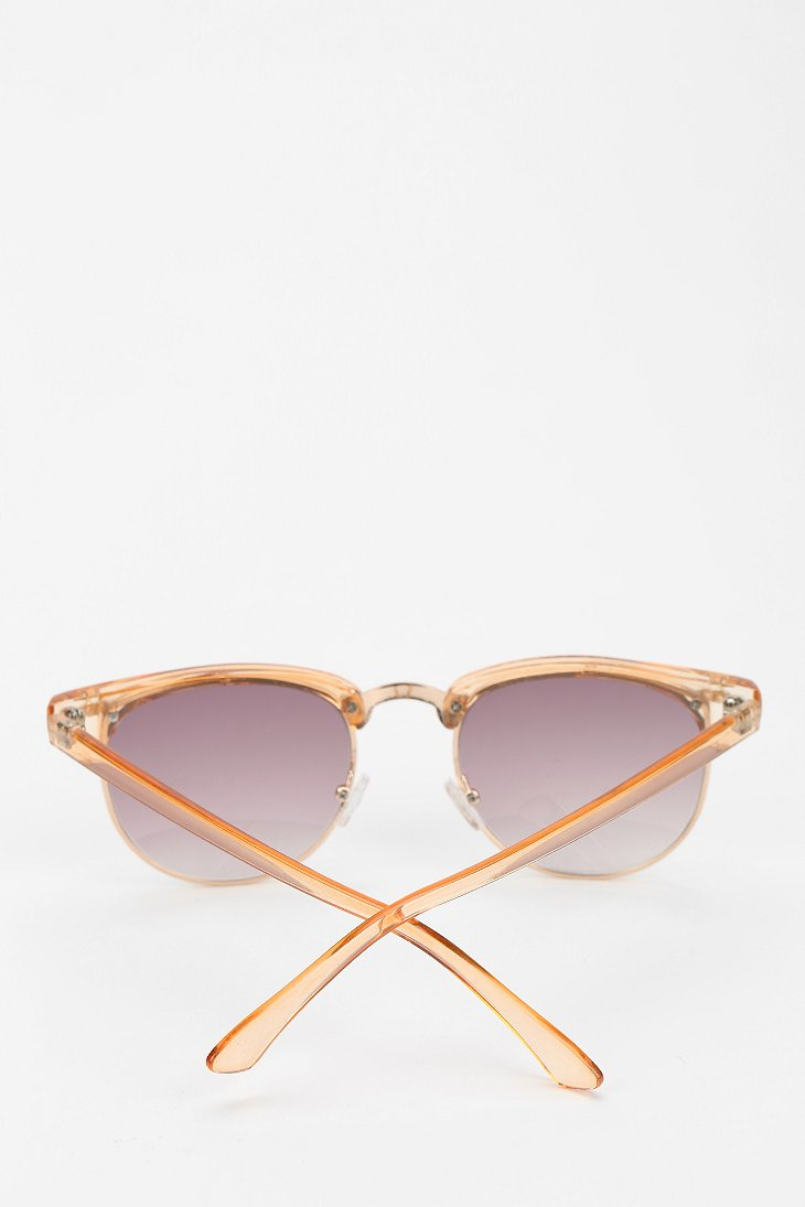 Glasses Frames Urban Outfitters : Urban outfitters Skylar Half-frame Sunglasses in Beige ...
