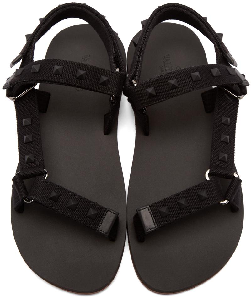 Valentino Black Rockstud Strap Sandals In Black For Men Lyst
