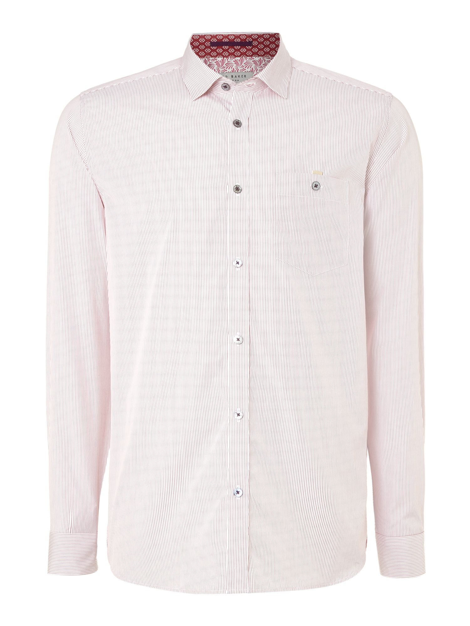 Ted Baker Cotton Glasto Striped Long Sleeve Shirt in Red for Men