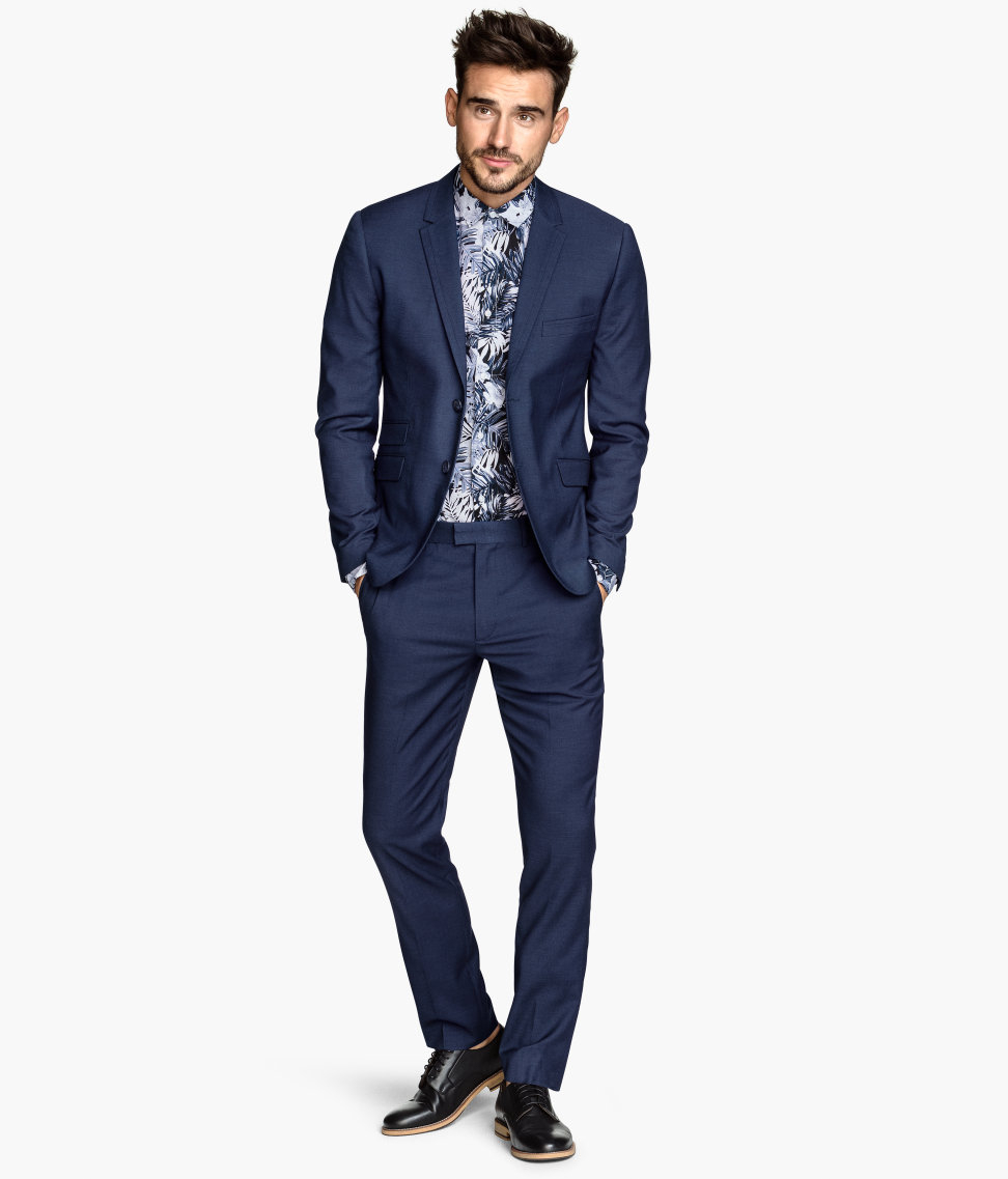 H&m Suit Trousers Skinny Fit in Blue for Men | Lyst