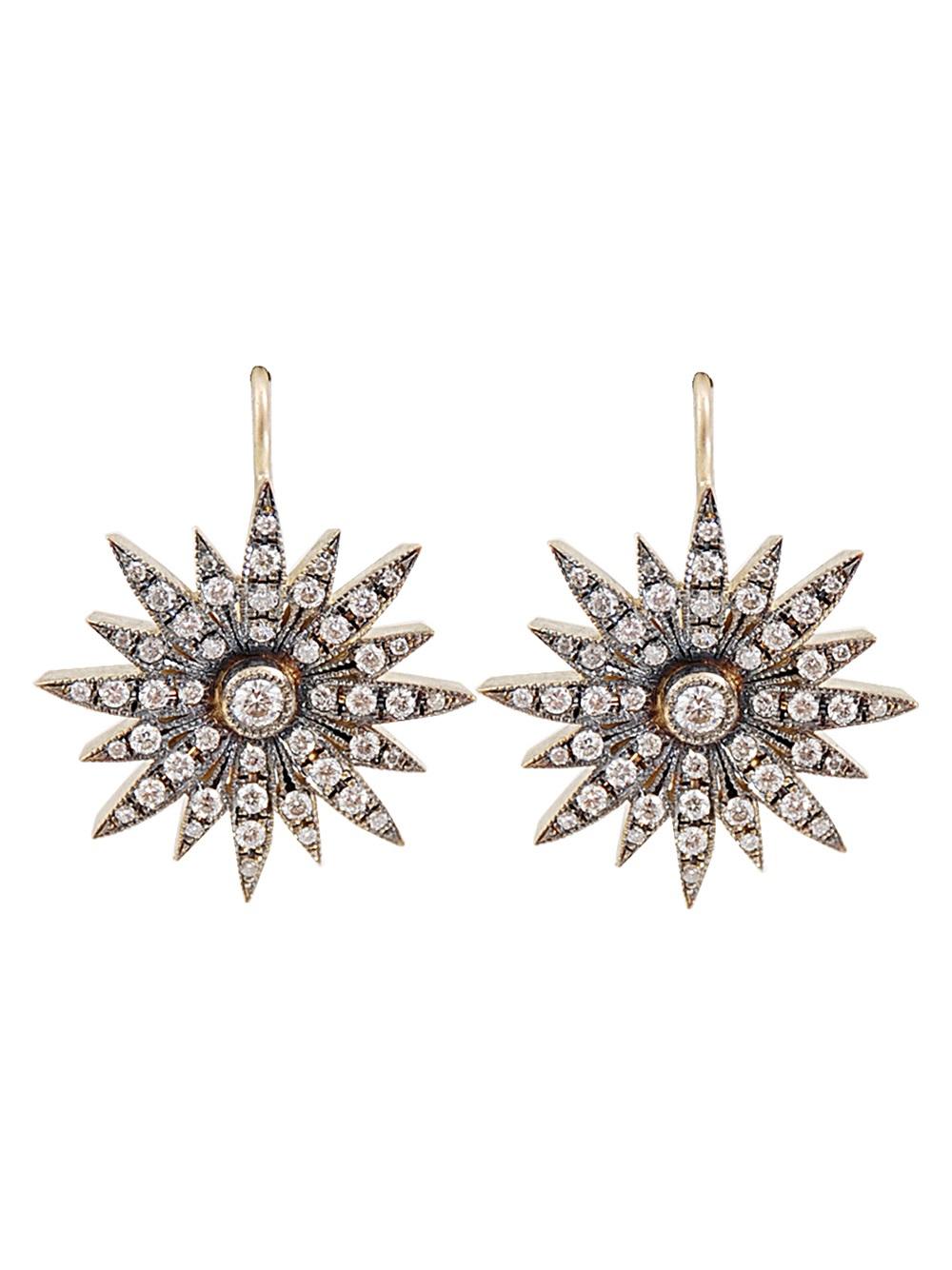 Sylva Amp Cie Starburst Earrings In Gold Metallic Lyst