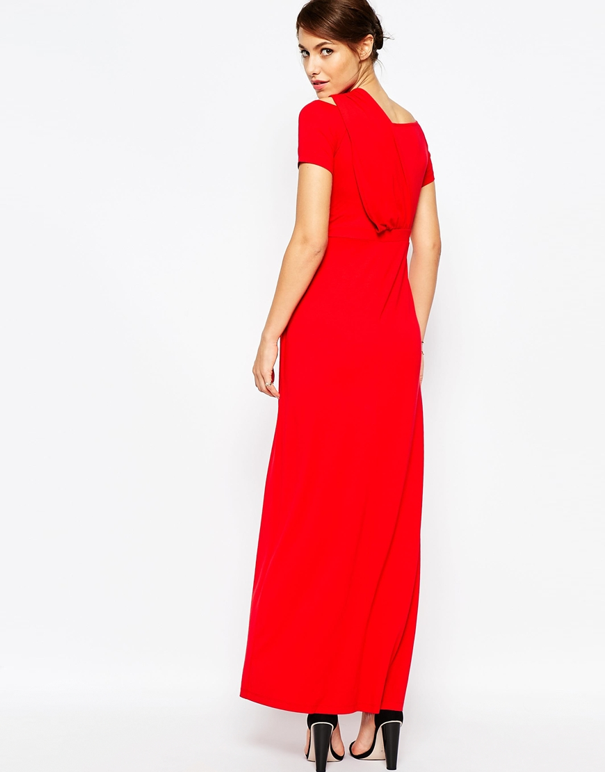 Asos bardot maxi dress with one shoulder in red lyst gallery ombrellifo Image collections