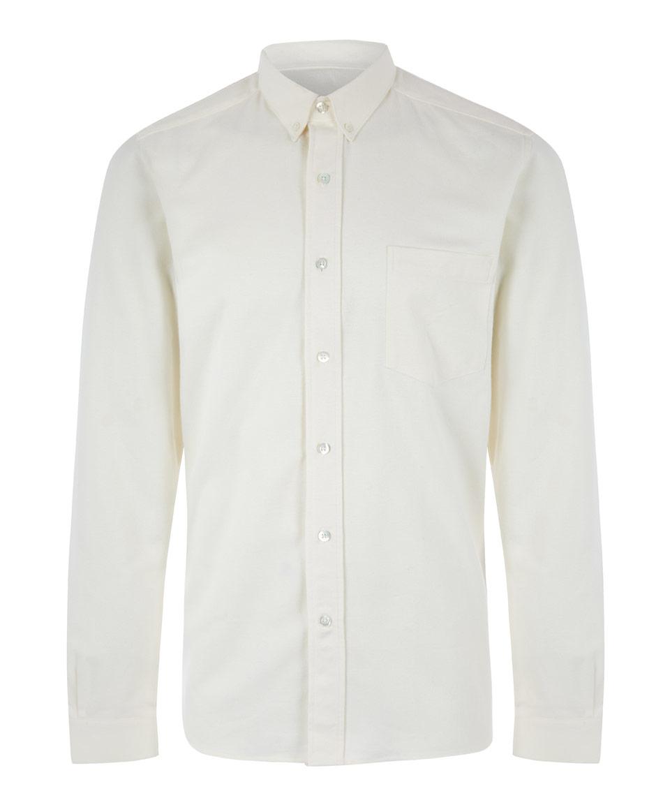 Ami white button down winter oxford cotton shirt in white for White button down oxford shirt