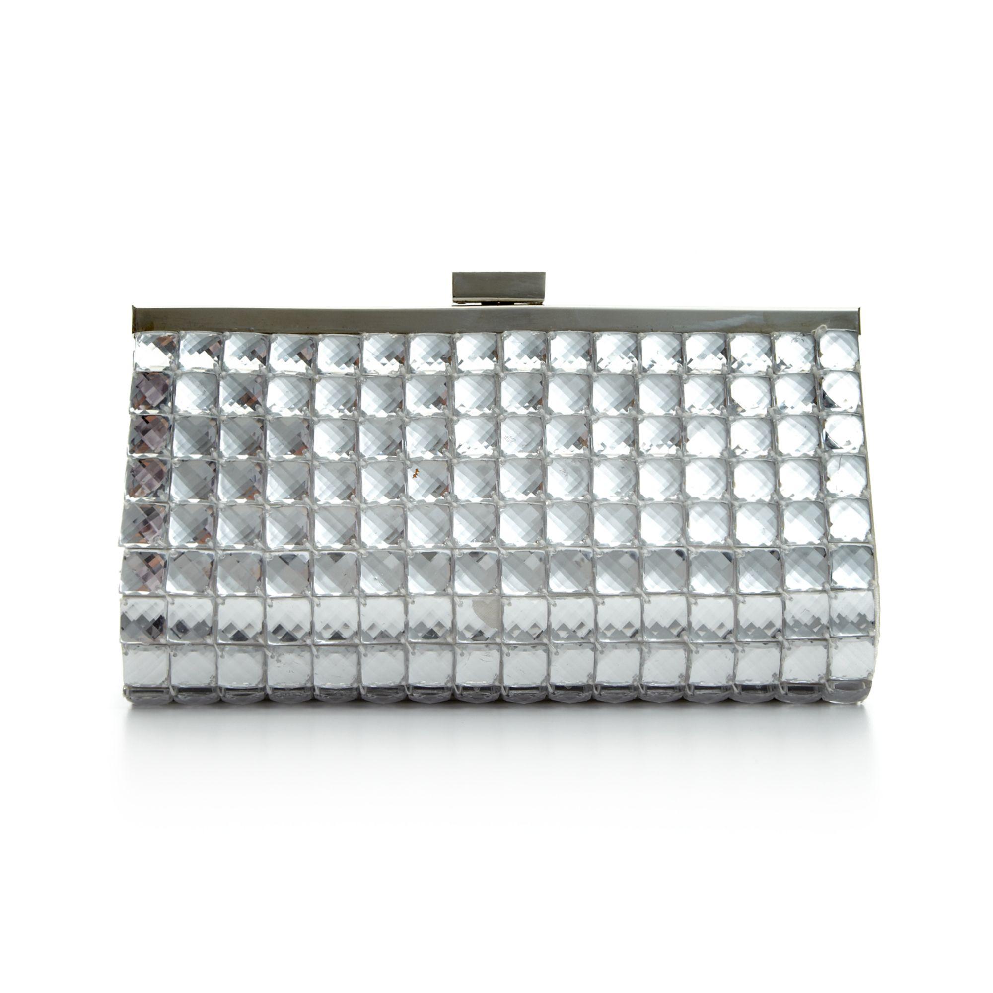 lyst la regale sparkle squares evening clutch in metallic. Black Bedroom Furniture Sets. Home Design Ideas