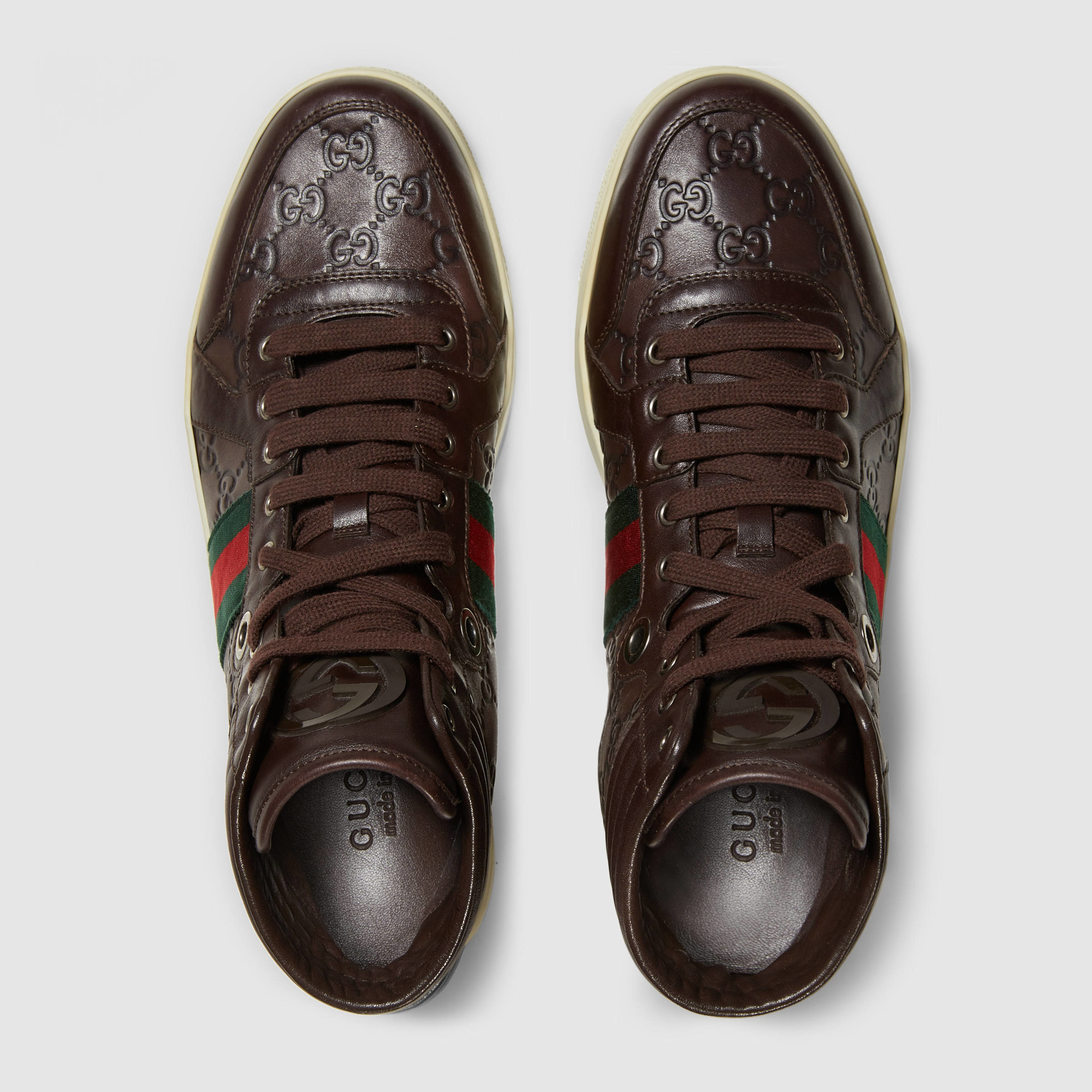 cf06f5b8106 Lyst - Gucci Ssima Leather High-top Sneaker in Brown for Men