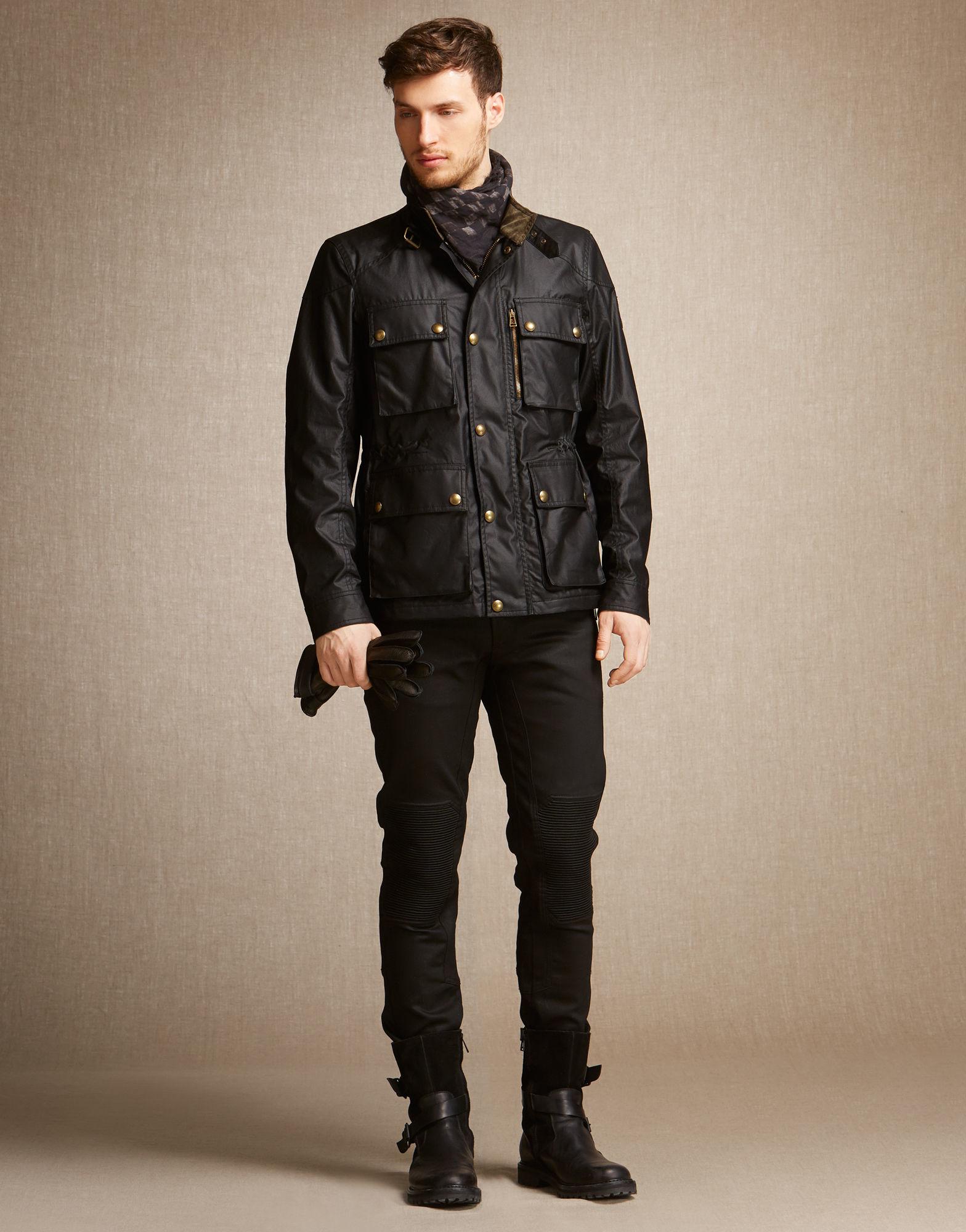 Belstaff Trialmaster Jacket In Black Signature 6oz Waxed