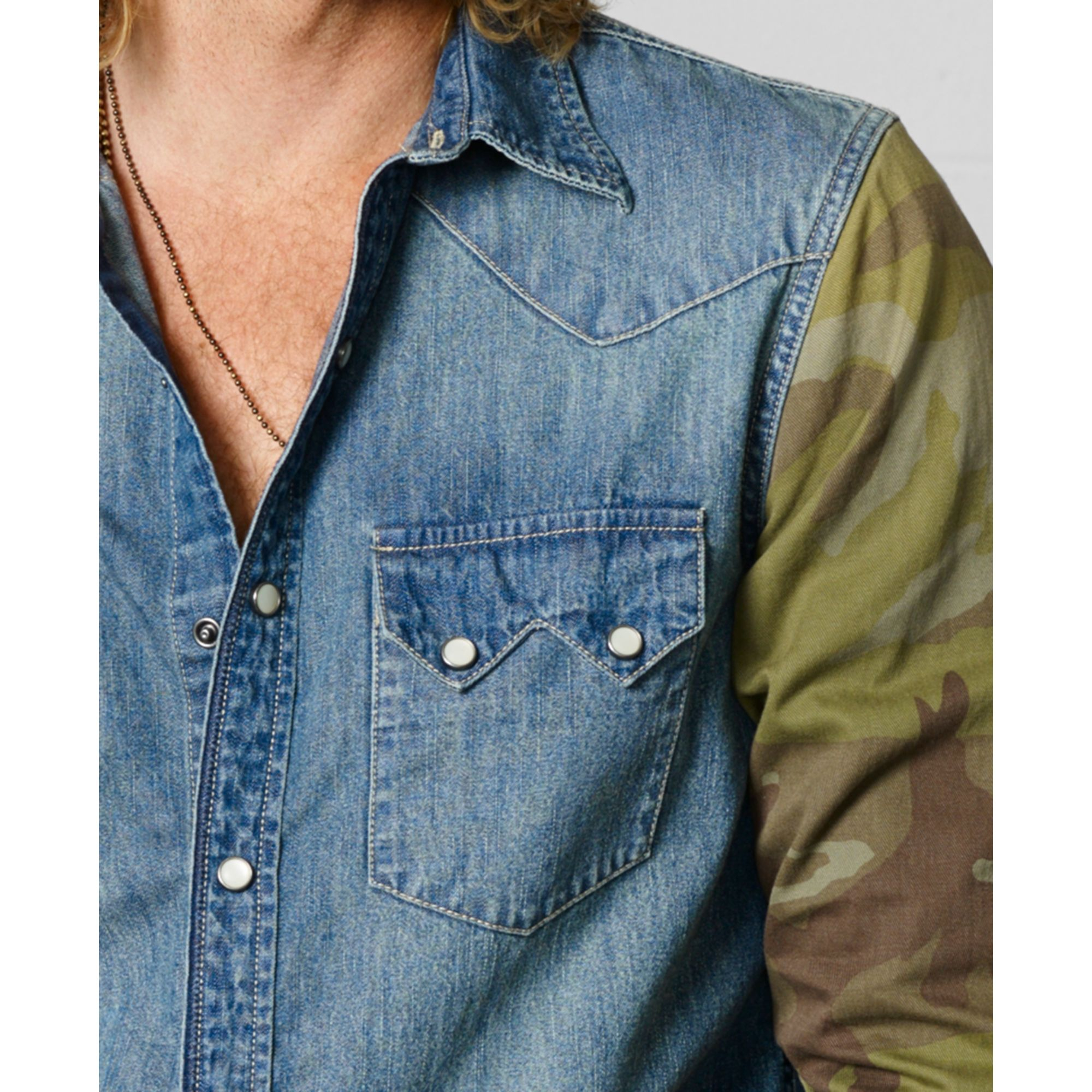 Denim Amp Supply Ralph Lauren Camosleeve Western Shirt In